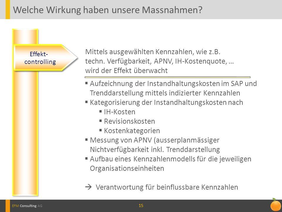 15 Welche Wirkung haben unsere Massnahmen? EFM Consulting AG Effekt- controlling Mittels ausgewählten Kennzahlen, wie z.B. techn. Verfügbarkeit, APNV,