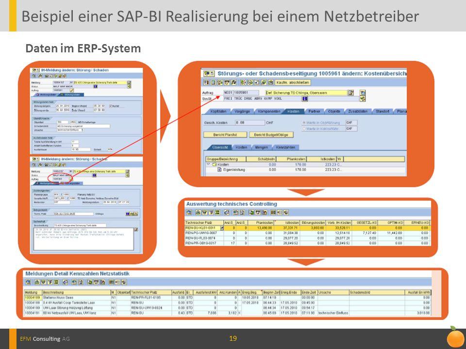 19 Beispiel einer SAP-BI Realisierung bei einem Netzbetreiber EFM Consulting AG Daten im ERP-System