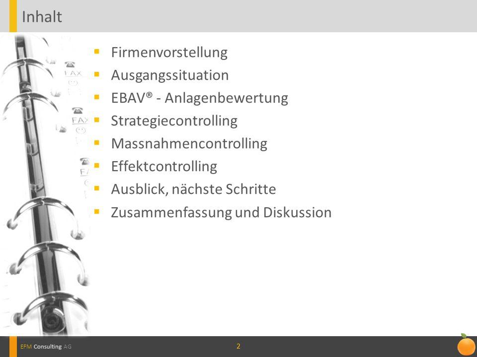 22 EFM Consulting AG Inhalt Firmenvorstellung Ausgangssituation EBAV® - Anlagenbewertung Strategiecontrolling Massnahmencontrolling Effektcontrolling Ausblick, nächste Schritte Zusammenfassung und Diskussion