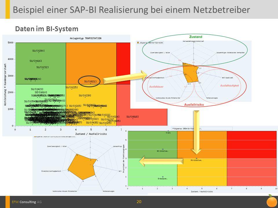 20 Beispiel einer SAP-BI Realisierung bei einem Netzbetreiber EFM Consulting AG Daten im BI-System