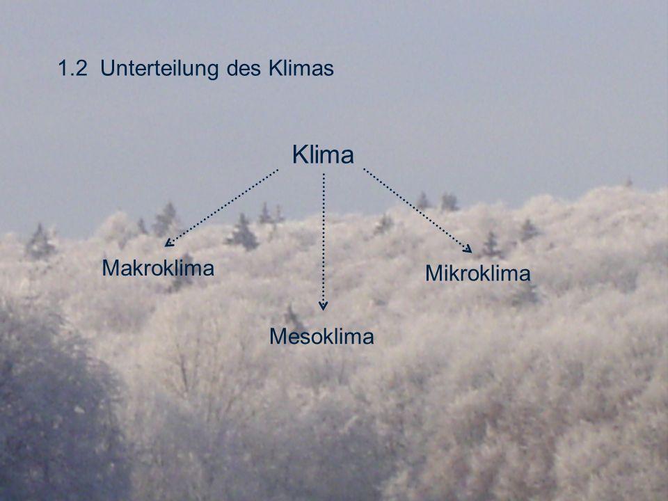 1.2 Unterteilung des Klimas Klima Makroklima Mesoklima Mikroklima