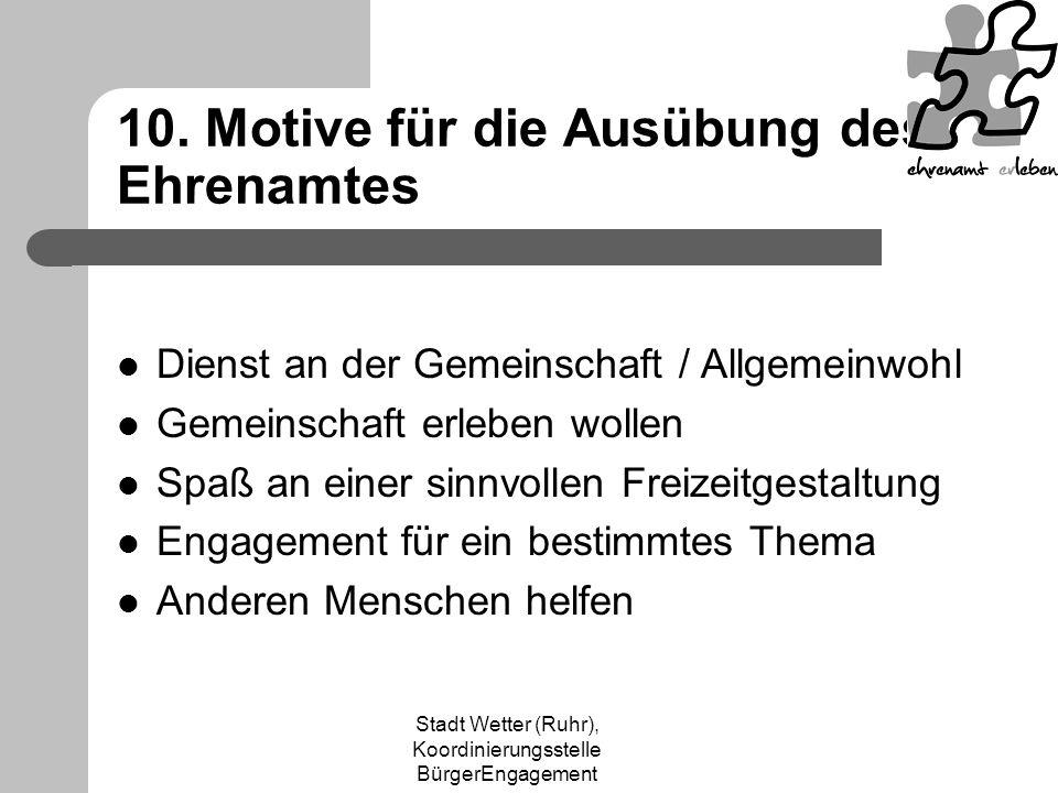 Stadt Wetter (Ruhr), Koordinierungsstelle BürgerEngagement 10. Motive für die Ausübung des Ehrenamtes Dienst an der Gemeinschaft / Allgemeinwohl Gemei