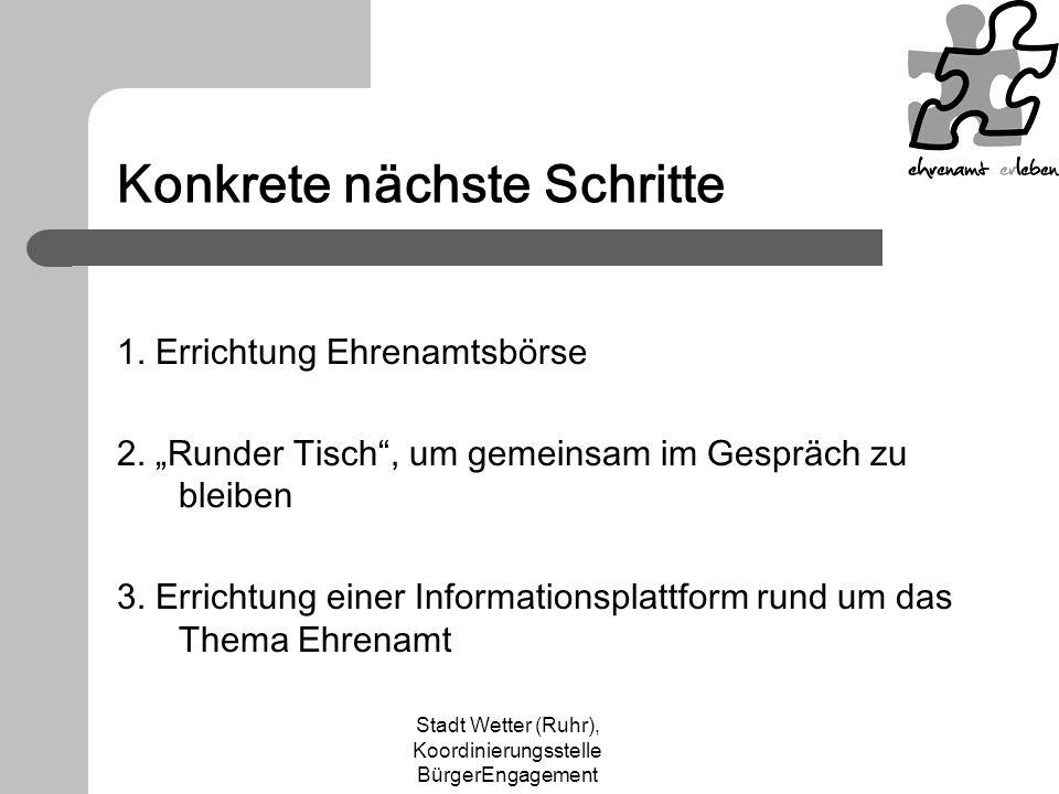 Stadt Wetter (Ruhr), Koordinierungsstelle BürgerEngagement Konkrete nächste Schritte 1. Errichtung Ehrenamtsbörse 2. Runder Tisch, um gemeinsam im Ges
