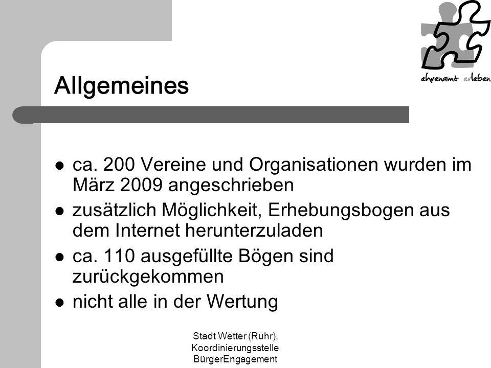 Stadt Wetter (Ruhr), Koordinierungsstelle BürgerEngagement Allgemeines ca. 200 Vereine und Organisationen wurden im März 2009 angeschrieben zusätzlich