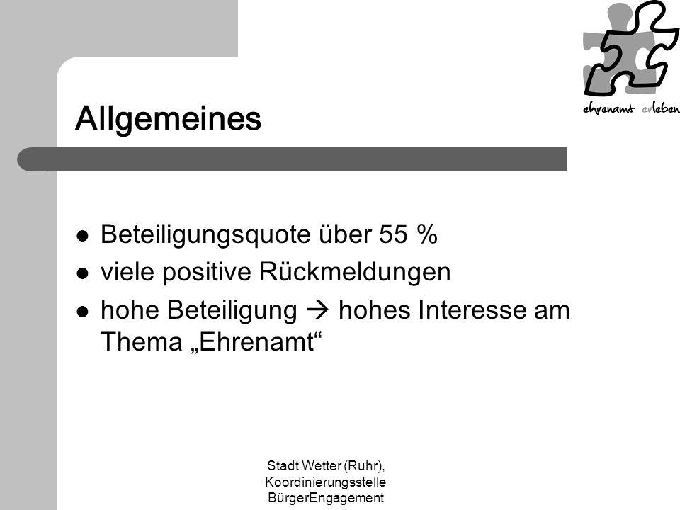 Stadt Wetter (Ruhr), Koordinierungsstelle BürgerEngagement Allgemeines Beteiligungsquote über 55 % viele positive Rückmeldungen hohe Beteiligung hohes