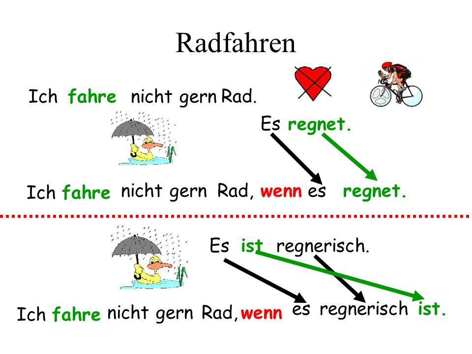 Radfahren Ichfahrenicht gern Rad.Es regnet. wennesregnet.