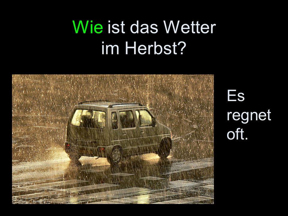 Wie ist das Wetter im Herbst? Es regnet oft.