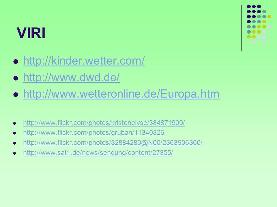 VIRI http://kinder.wetter.com/ http://www.dwd.de/ http://www.wetteronline.de/Europa.htm http://www.flickr.com/photos/kristenelyse/384871909/ http://ww