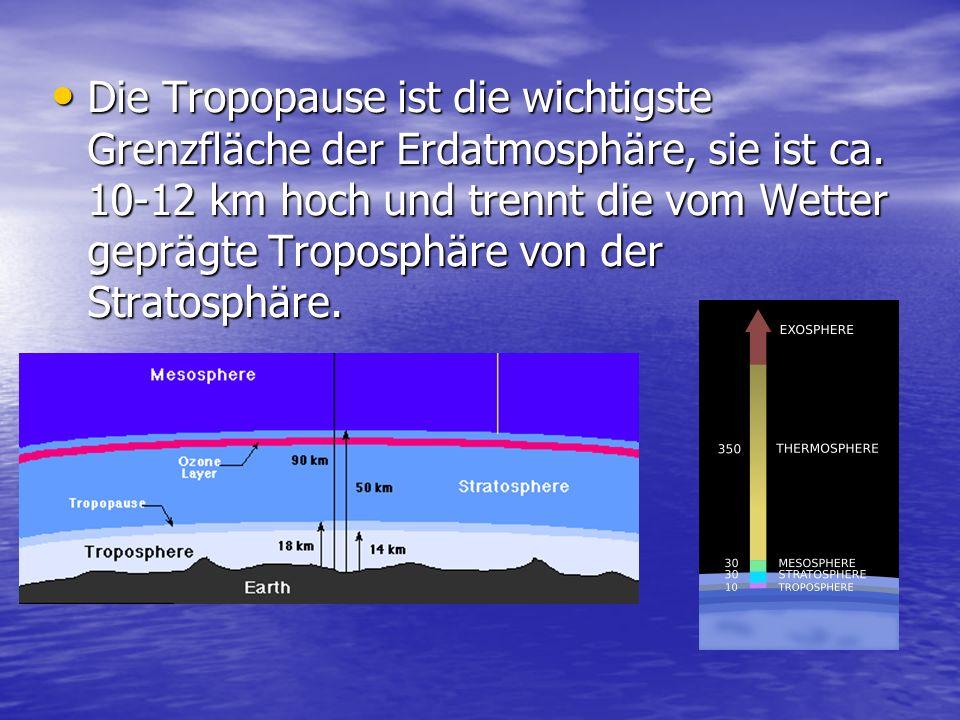 Die Tropopause ist die wichtigste Grenzfläche der Erdatmosphäre, sie ist ca. 10-12 km hoch und trennt die vom Wetter geprägte Troposphäre von der Stra