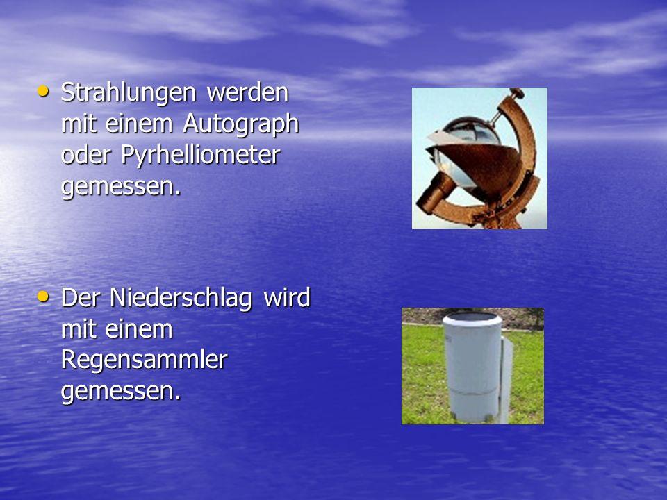 Strahlungen werden mit einem Autograph oder Pyrhelliometer gemessen. Strahlungen werden mit einem Autograph oder Pyrhelliometer gemessen. Der Niedersc