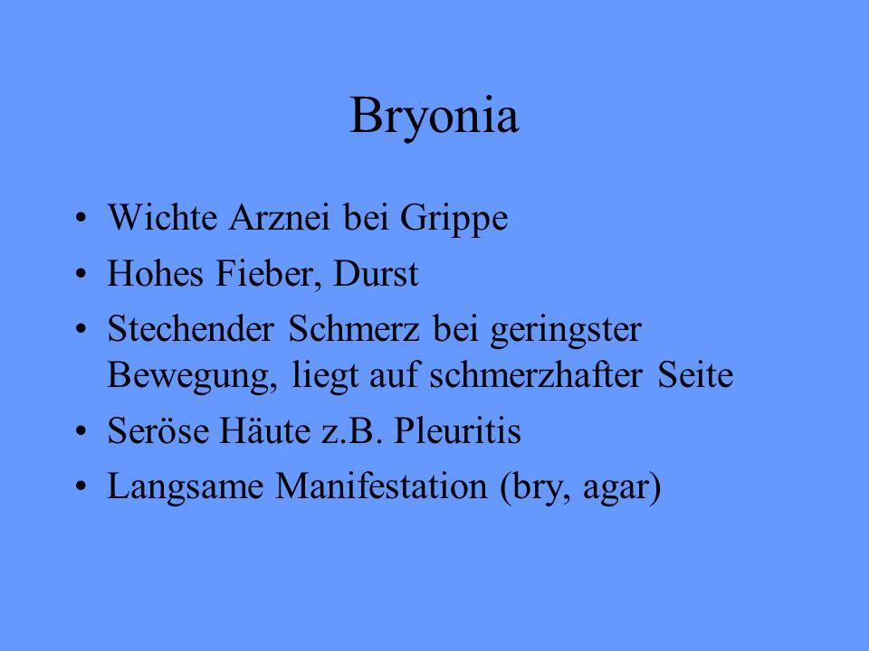 Bryonia Wichte Arznei bei Grippe Hohes Fieber, Durst Stechender Schmerz bei geringster Bewegung, liegt auf schmerzhafter Seite Seröse Häute z.B. Pleur