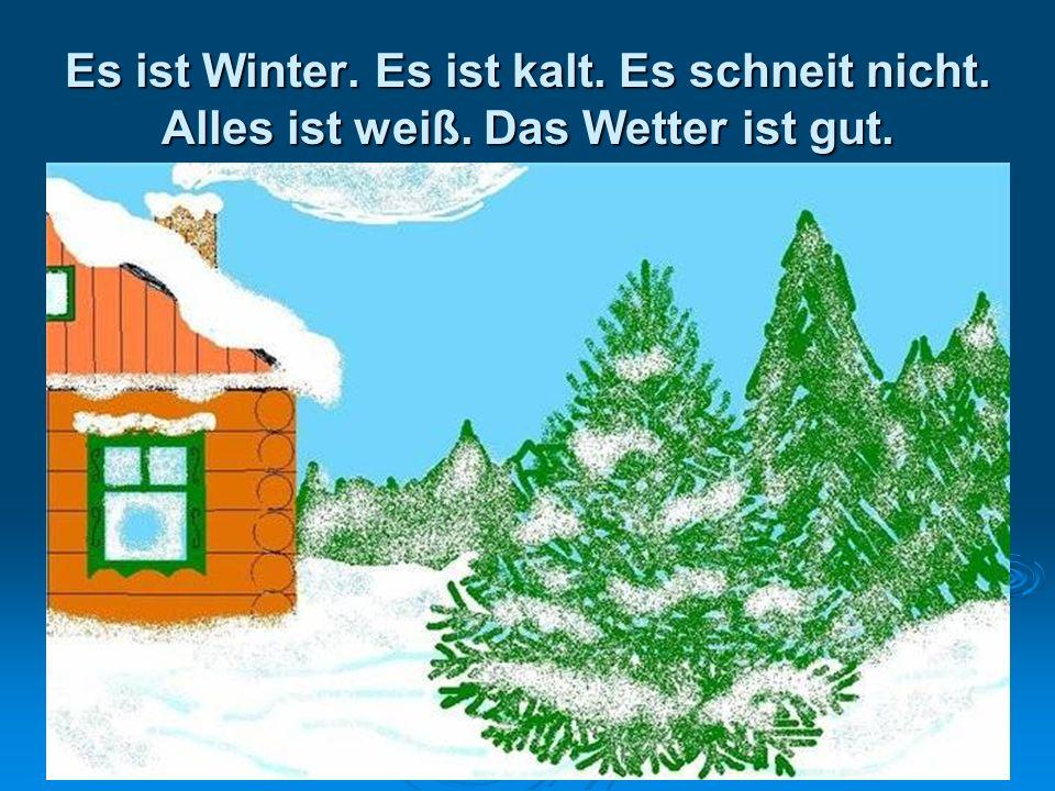Es ist Winter. Es ist kalt. Es schneit nicht. Alles ist weiß. Das Wetter ist gut.