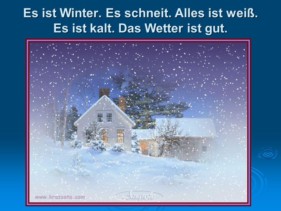 Es ist Winter. Es schneit. Alles ist weiß. Es ist kalt. Das Wetter ist gut.