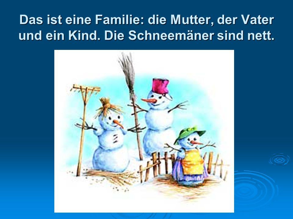 Das ist eine Familie: die Mutter, der Vater und ein Kind. Die Schneemäner sind nett.