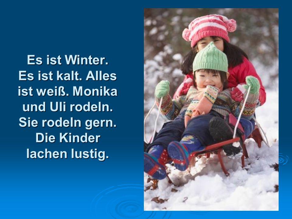 Es ist Winter. Es ist kalt. Alles ist weiß. Monika und Uli rodeln. Sie rodeln gern. Die Kinder lachen lustig.