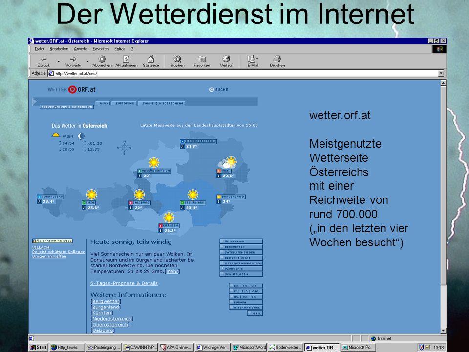 Der Wetterdienst im Internet wetter.orf.at Meistgenutzte Wetterseite Österreichs mit einer Reichweite von rund 700.000 (in den letzten vier Wochen bes