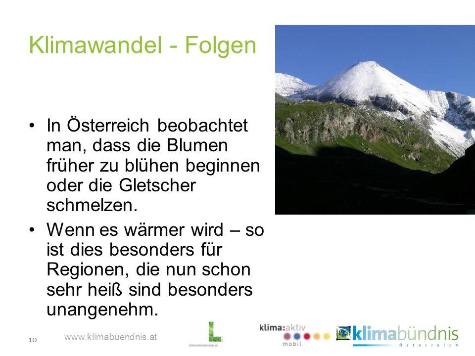10 www.klimabuendnis.at Klimawandel - Folgen In Österreich beobachtet man, dass die Blumen früher zu blühen beginnen oder die Gletscher schmelzen. Wen