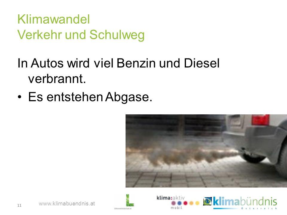 11 www.klimabuendnis.at Klimawandel Verkehr und Schulweg In Autos wird viel Benzin und Diesel verbrannt. Es entstehen Abgase.