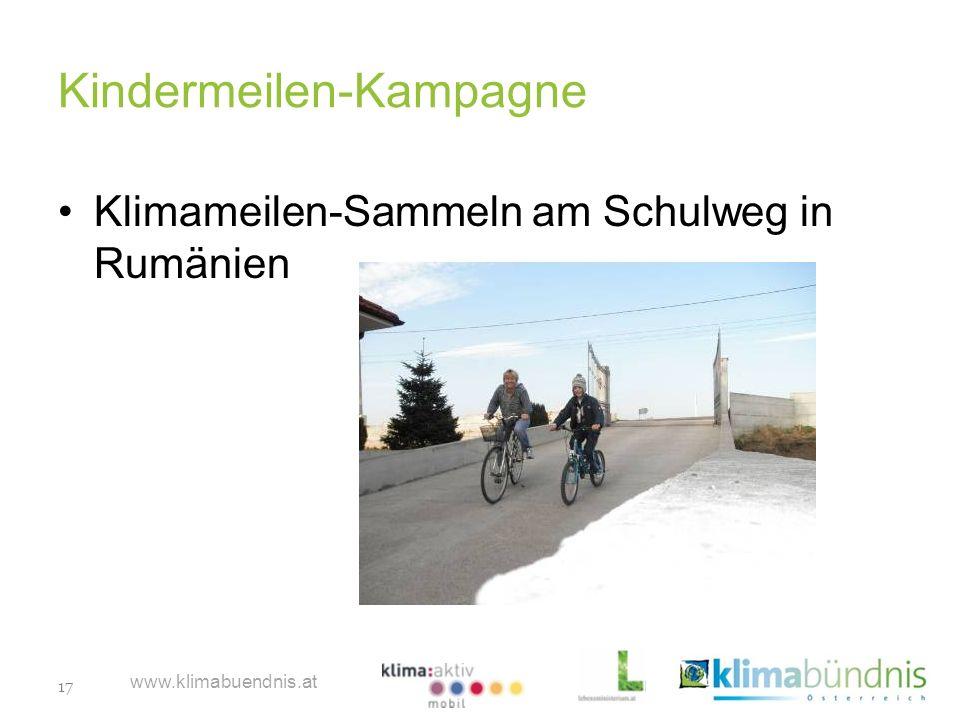 17 www.klimabuendnis.at Kindermeilen-Kampagne Klimameilen-Sammeln am Schulweg in Rumänien