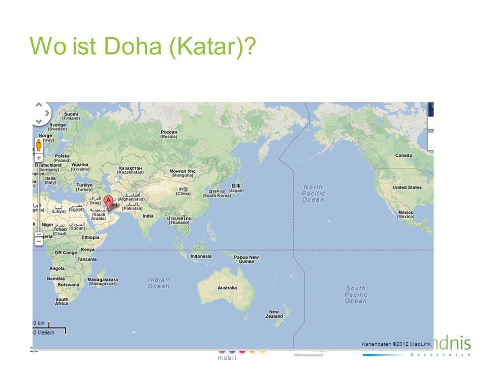 22 www.klimabuendnis.at Wo ist Doha (Katar)?