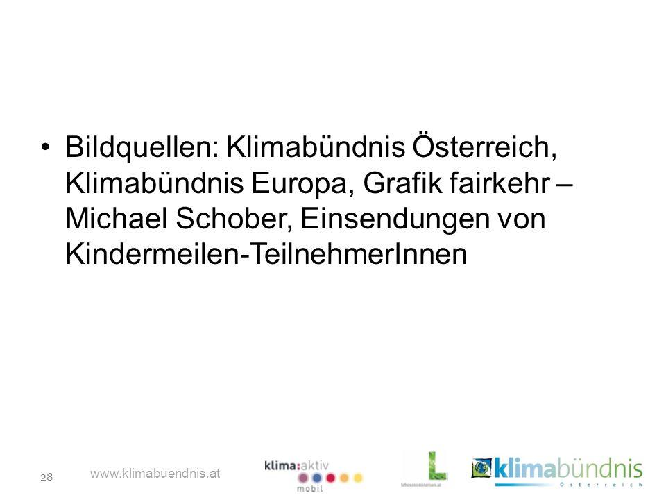 28 www.klimabuendnis.at Bildquellen: Klimabündnis Österreich, Klimabündnis Europa, Grafik fairkehr – Michael Schober, Einsendungen von Kindermeilen-Te