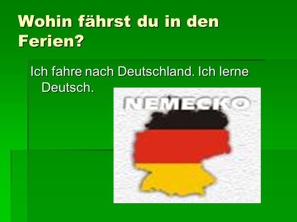 Wohin fährst du in den Ferien? Ich fahre nach Deutschland. Ich lerne Deutsch.