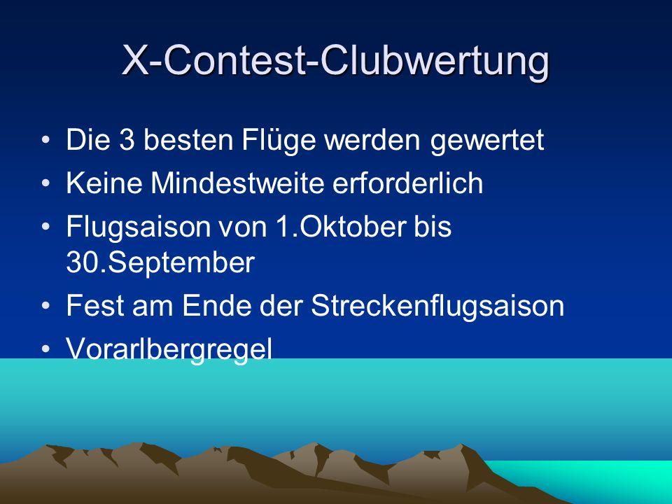 X-Contest-Clubwertung Die 3 besten Flüge werden gewertet Keine Mindestweite erforderlich Flugsaison von 1.Oktober bis 30.September Fest am Ende der St