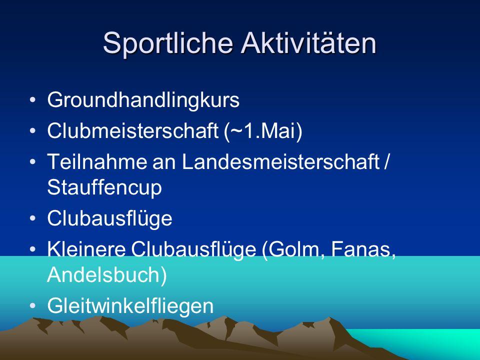 Sportliche Aktivitäten Groundhandlingkurs Clubmeisterschaft (~1.Mai) Teilnahme an Landesmeisterschaft / Stauffencup Clubausflüge Kleinere Clubausflüge