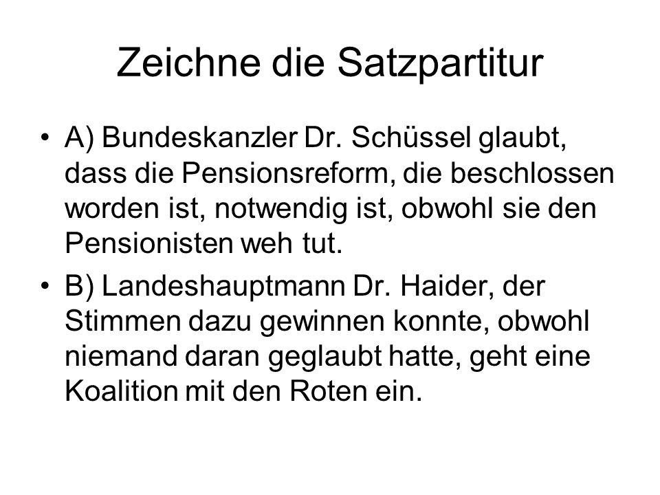 Zeichne die Satzpartitur A) Bundeskanzler Dr. Schüssel glaubt, dass die Pensionsreform, die beschlossen worden ist, notwendig ist, obwohl sie den Pens