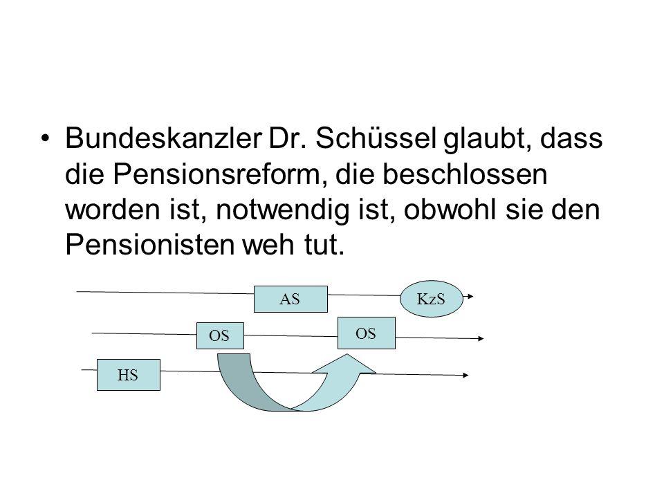 Bundeskanzler Dr. Schüssel glaubt, dass die Pensionsreform, die beschlossen worden ist, notwendig ist, obwohl sie den Pensionisten weh tut. HS OS AS O