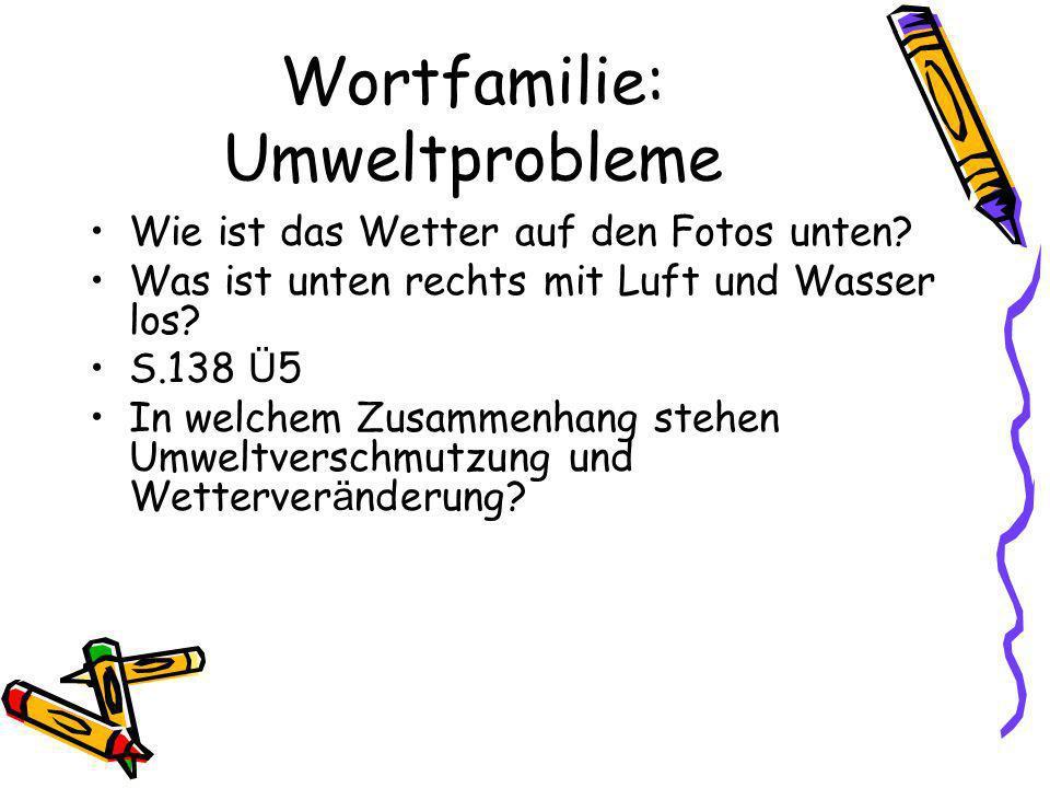 Wortfamilie: Umweltprobleme Wie ist das Wetter auf den Fotos unten.