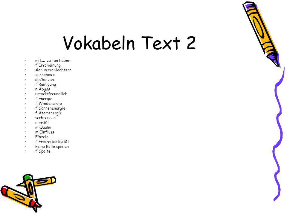 Vokabeln Text 2 mit....