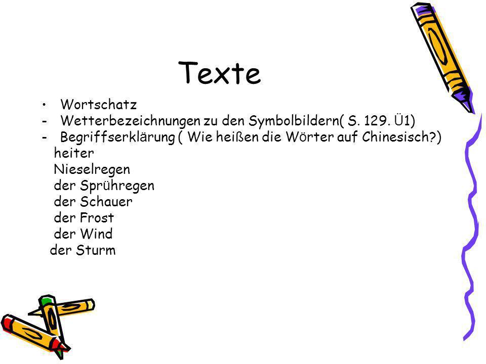 Texte Wortschatz -Wetterbezeichnungen zu den Symbolbildern( S.