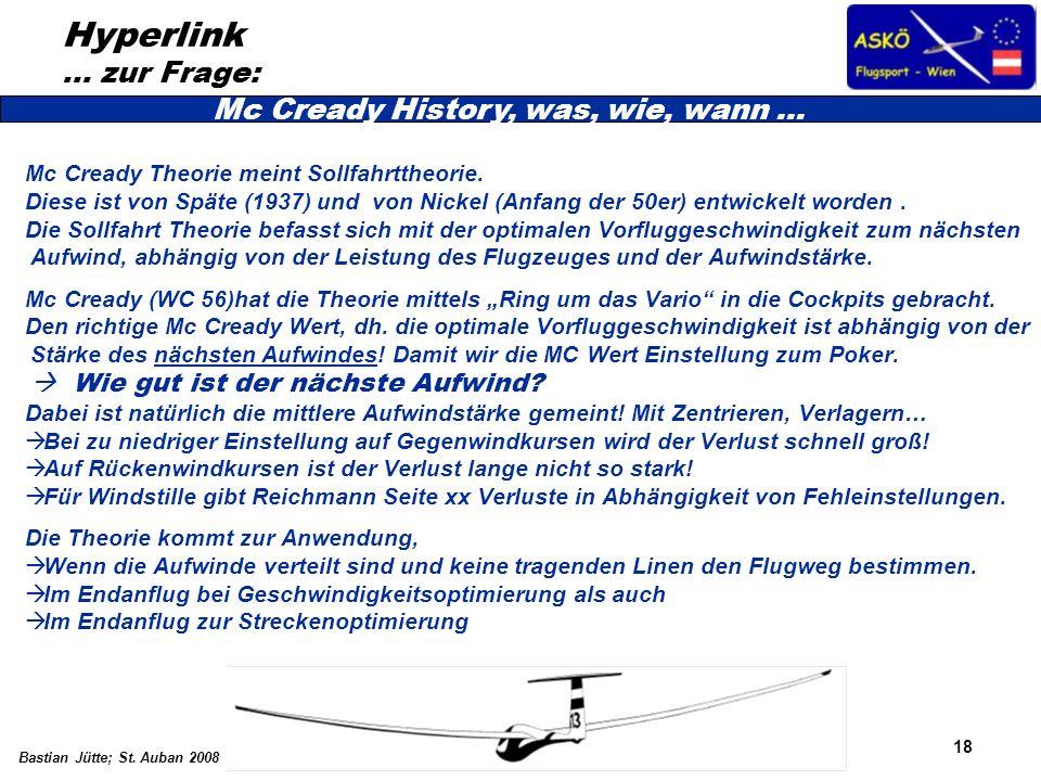 18 Bastian Jütte; St. Auban 2008 Hyperlink … zur Frage: Mc Cready Theorie meint Sollfahrttheorie. Diese ist von Späte (1937) und von Nickel (Anfang de