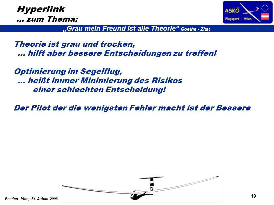19 Bastian Jütte; St. Auban 2008 Hyperlink … zum Thema: Theorie ist grau und trocken, … hilft aber bessere Entscheidungen zu treffen! Optimierung im S