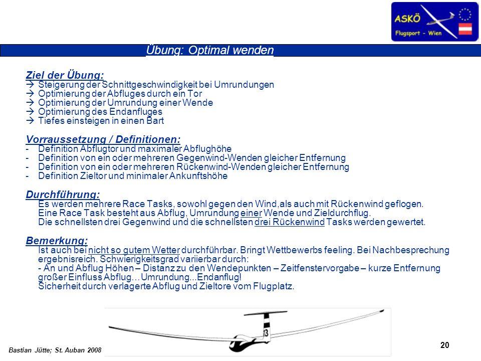 20 Bastian Jütte; St. Auban 2008 Übung: Optimal wenden Ziel der Übung: Steigerung der Schnittgeschwindigkeit bei Umrundungen Optimierung der Abfluges