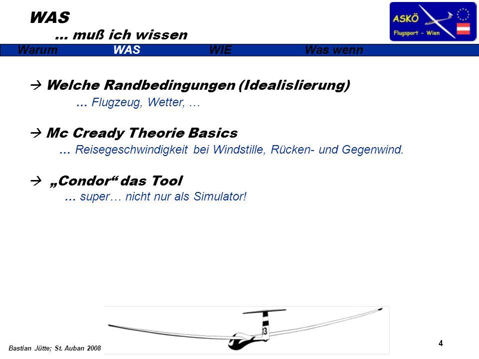 4 Bastian Jütte; St. Auban 2008 WAS … muß ich wissen WarumWASWIEWas wenn Welche Randbedingungen (Idealislierung) … Flugzeug, Wetter, … Mc Cready Theor