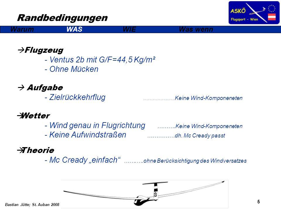 5 Bastian Jütte; St. Auban 2008 Randbedingungen WarumWASWIEWas wenn Flugzeug - Ventus 2b mit G/F=44,5 Kg/m² - Ohne Mücken Aufgabe - Zielrückkehrflug …