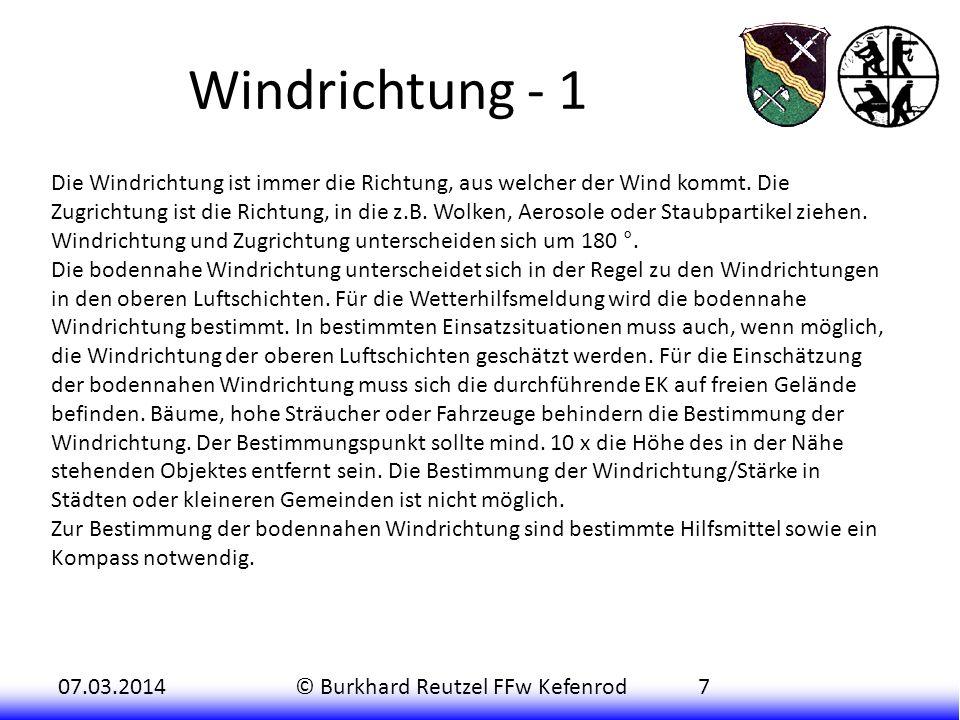 07.03.2014© Burkhard Reutzel FFw Kefenrod8 Windrichtung - 2 Z.B.