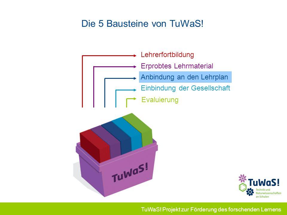TuWaS! Projekt zur Förderung des forschenden Lernens Lehrerfortbildung Die 5 Bausteine von TuWaS! Erprobtes Lehrmaterial Anbindung an den Lehrplan Ein