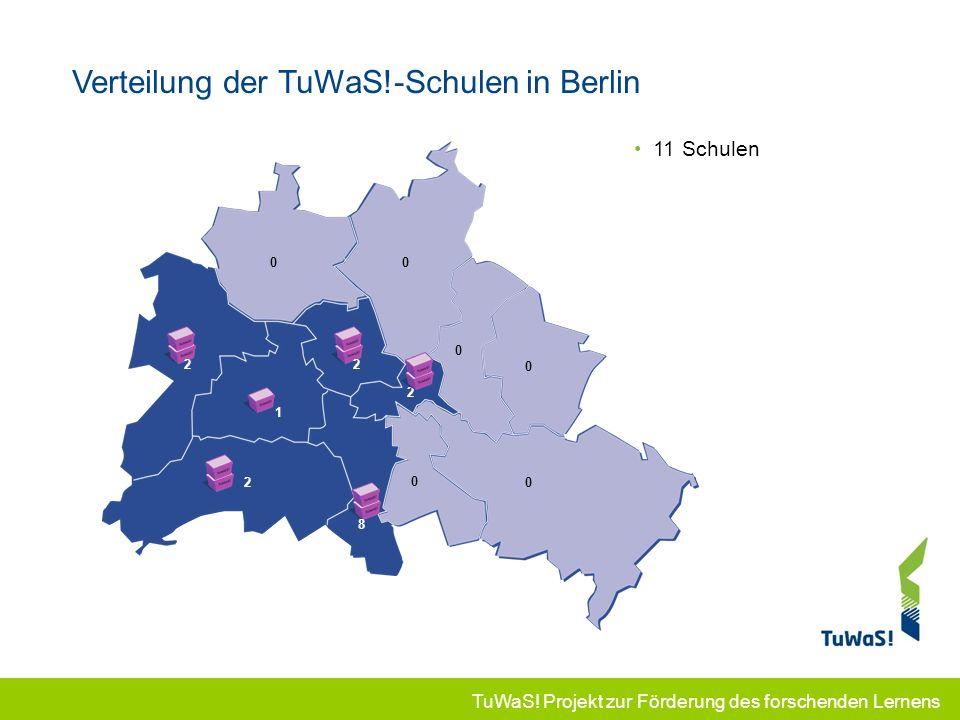 TuWaS! Projekt zur Förderung des forschenden Lernens Verteilung der TuWaS!-Schulen in Berlin 00 0 0 0 0 2 2 1 11 Schulen 1 2 8 2