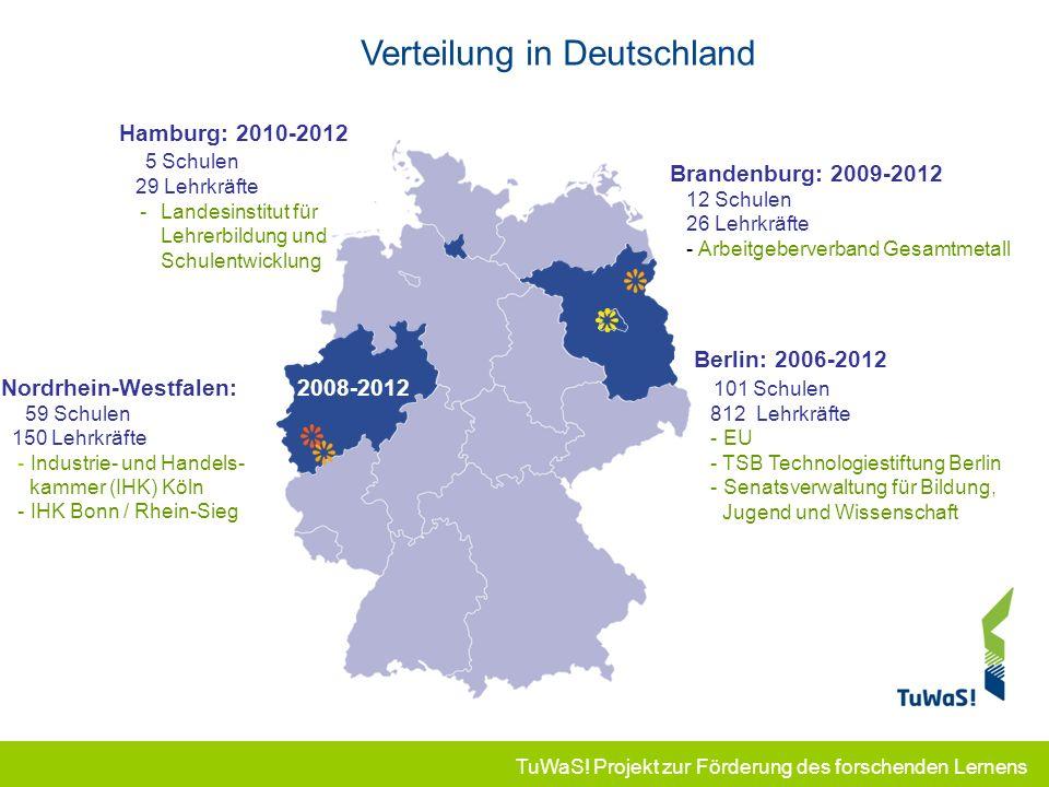 TuWaS! Projekt zur Förderung des forschenden Lernens Verteilung in Deutschland Nordrhein-Westfalen: 2008-2012 59 Schulen 150 Lehrkräfte - Industrie- u