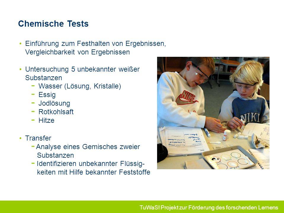 TuWaS! Projekt zur Förderung des forschenden Lernens Einführung zum Festhalten von Ergebnissen, Vergleichbarkeit von Ergebnissen Untersuchung 5 unbeka