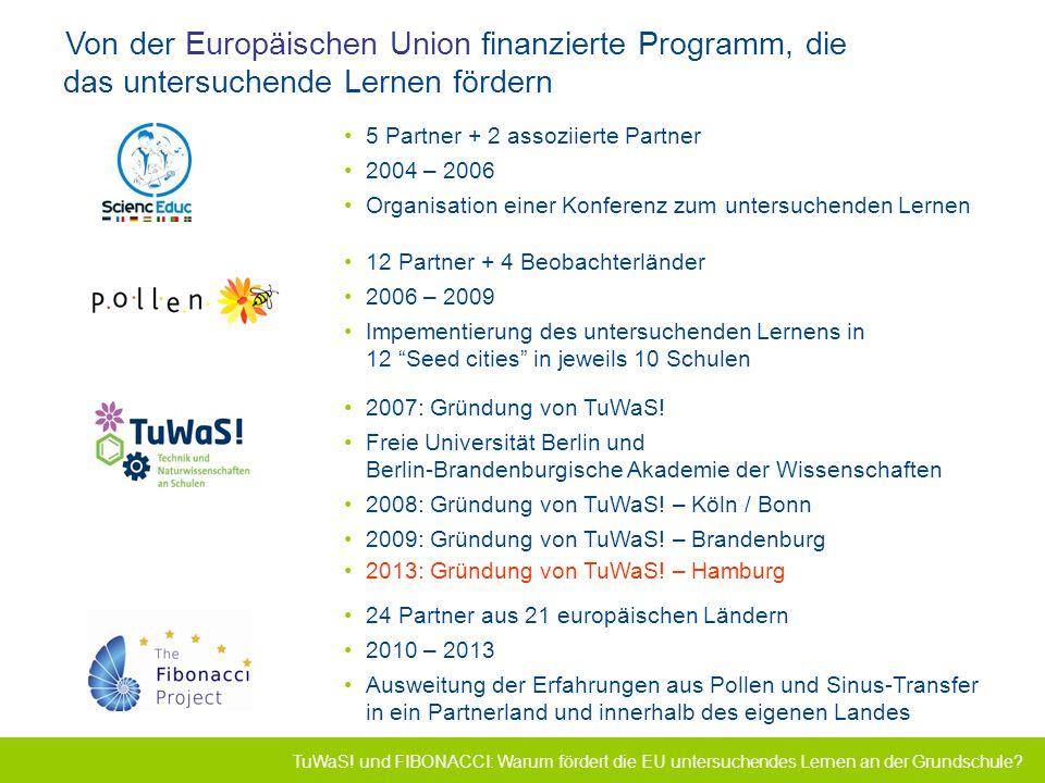 TuWaS! Projekt zur Förderung des forschenden Lernens Von der Europäischen Union finanzierte Programm, die das untersuchende Lernen fördern 5 Partner +