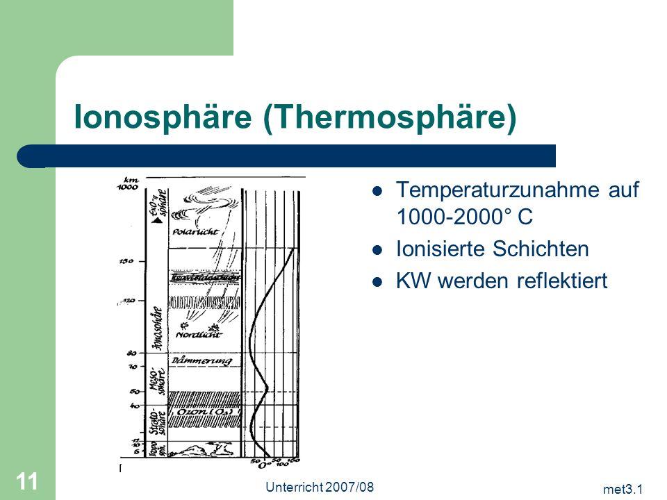 met3.1 Unterricht 2007/08 11 Ionosphäre (Thermosphäre) Temperaturzunahme auf 1000-2000° C Ionisierte Schichten KW werden reflektiert