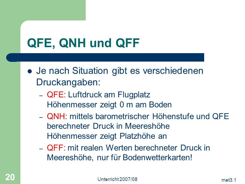 met3.1 Unterricht 2007/08 20 QFE, QNH und QFF Je nach Situation gibt es verschiedenen Druckangaben: – QFE: Luftdruck am Flugplatz Höhenmesser zeigt 0