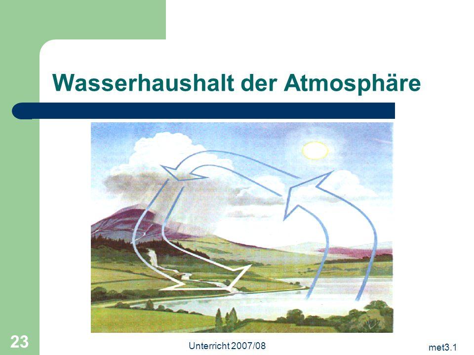 met3.1 Unterricht 2007/08 23 Wasserhaushalt der Atmosphäre