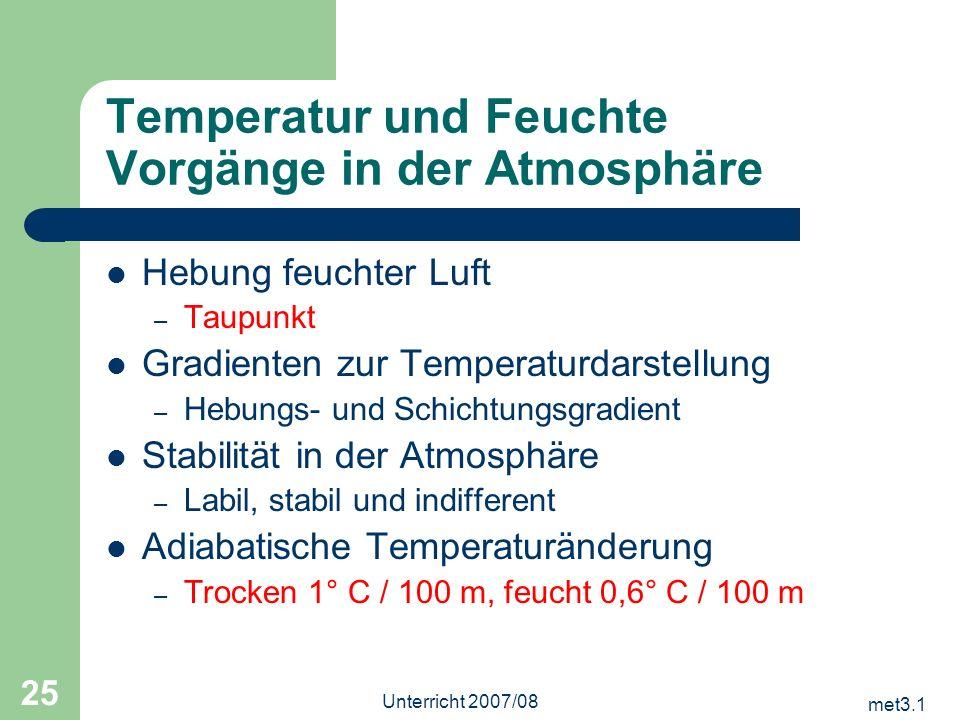 met3.1 Unterricht 2007/08 25 Temperatur und Feuchte Vorgänge in der Atmosphäre Hebung feuchter Luft – Taupunkt Gradienten zur Temperaturdarstellung –