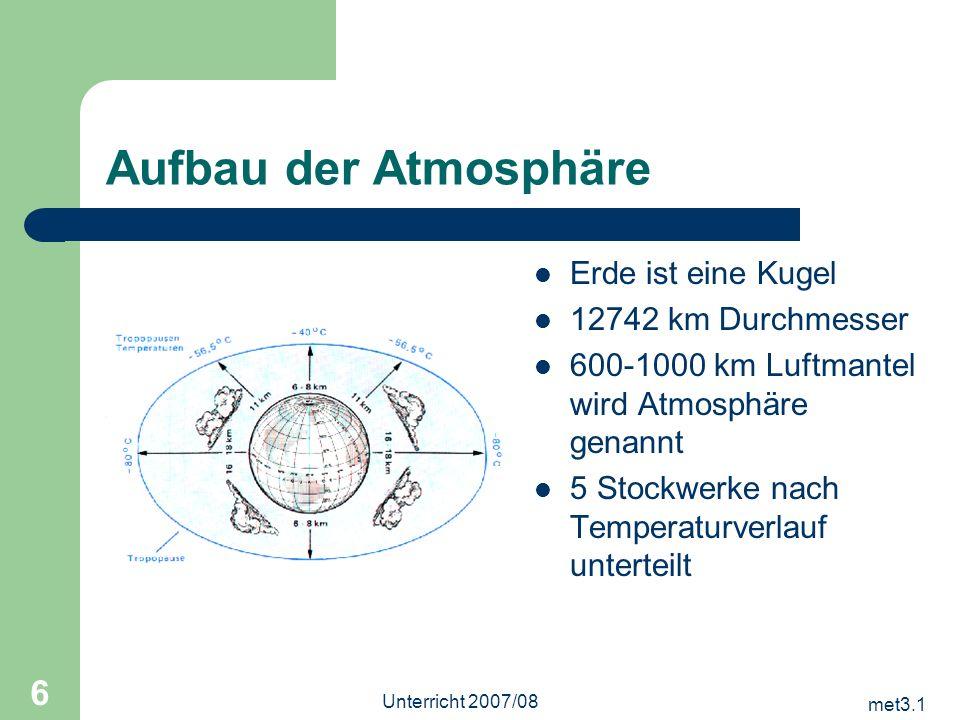 met3.1 Unterricht 2007/08 6 Aufbau der Atmosphäre Erde ist eine Kugel 12742 km Durchmesser 600-1000 km Luftmantel wird Atmosphäre genannt 5 Stockwerke