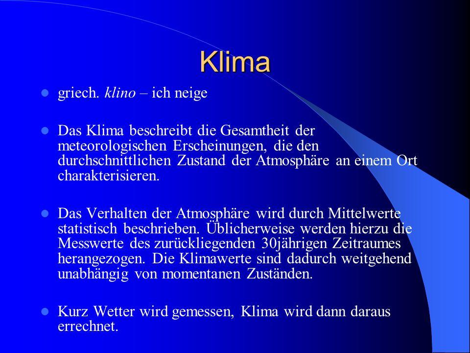 Gruppe 3) Mensch und Klima http://www.hamburger-bildungsserver.de/welcome.phtml?unten=/klima/treibhaus/ http://www.3sat.de/3sat.php?http://www.3sat.de/nano/news/65795/ http://www.atm.ch.cam.ac.uk/tour/tour_de/ http://www.seilnacht.com/Lexikon/Ozon.htm http://www3.stzh.ch/internet/ugz/home/fachbereiche/luftqualitaet/themen/smog0.html Gruppe 4) Klima und Ozeane http://www.m-forkel.de/klima/golfstrom.html http://www.zdf.de/ZDFde/inhalt/11/0,1872,2074411,00.html www.g-o.dewww.g-o.de -> Suche -> Die Bedeutung der Ozeane http://www.meeresgeo-online.de/inhalt/golfstrom.php?js=1&sg=12 http://online.wdr.de/online/klima/folgen/golfstrom.phtml http://www.canis.info/oekologie/klima/pentagon_klimareport.htm http://www.hamburger-bildungsserver.de/index.phtml?site=klima2